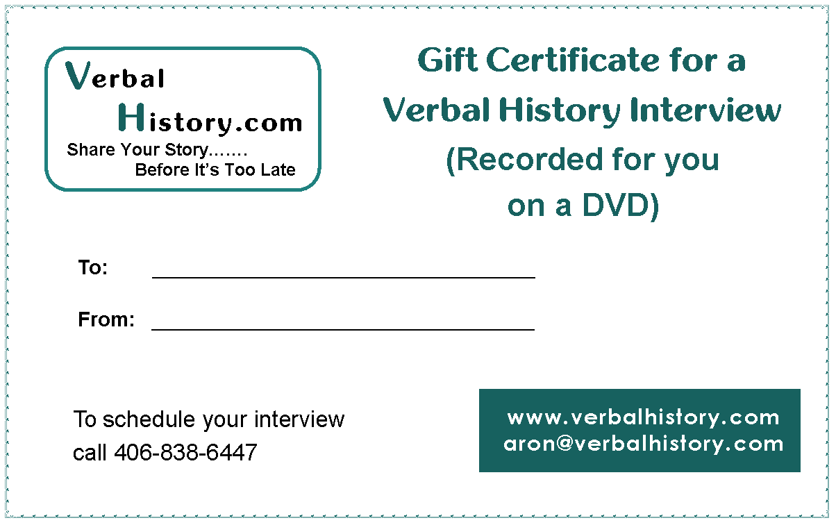 gift certificates verbal history